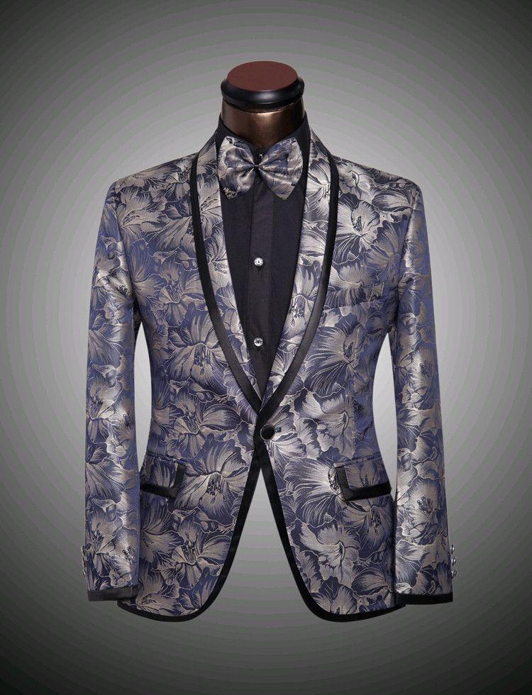 2017 Jacket   Pants   Bow Tie New Mens Floral Blazer Suits Slim ...