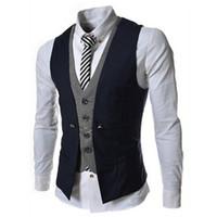 Wholesale Mens Vest New Listing Fashion Brand False Two Design Waistcoat Male Blazer Vest Casual Slim Fit Suit Vests Men