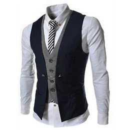 Canada Mens Vest Nouvelle Annonce Fashion Brand Faux Deux Conception Gilet Homme Blazer Vest Casual Slim Fit Suit Gilets Hommes cheap suits design men Offre