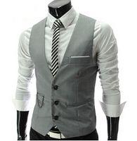 Wholesale New Design Mens Vests Brand Chain Single breasted coletes Gentleman Slim Men s Suit Waistcoat dress vests for men veste Sale