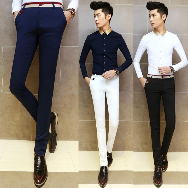 2017 2015 New Arrival Men Dress Pants Slim Fit Male Skinny ...