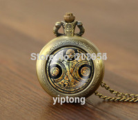 Wholesale New movie Doctor Who quartz Pocket Watch Necklace Dr Who masters fob Timelord Seal Locket necklace fashion jewelry mens