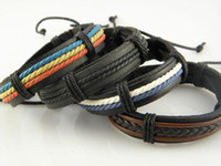 Wholesale Stylish Genuine Leather Hemp Wristband Bracelets Gift For Men Stock Mix Order