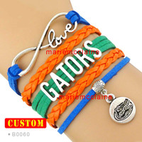 Wholesale Pieces Infinity Love Florida Gators Athletic Team Bracelet NCAA Orange Blue Custom Sports Team Cheer Team Bracelet