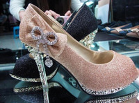 Pumps black heel bow - Product A importer Fish head gold diamond bow heels waterproof shoes dress shoes wedding