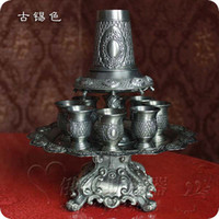 tin drinking cups - rare set antique tin embossed carved zinc alloy metal wine decanter set drinkware tableware drinks set wine cup C