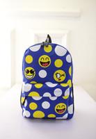 Wholesale New Women Men s Travel emoji Backpack Smiley School Backpacks Bookbag Yellow Girl Boy kids Emoji Bag Mochila Feminina TOP
