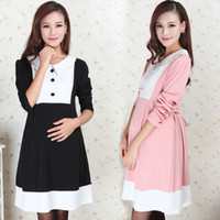 Wholesale HOT Mother Fashion Maternity clothing spring long sleeve turn down collar gentlewomen dress for pregnant women maternity dresses