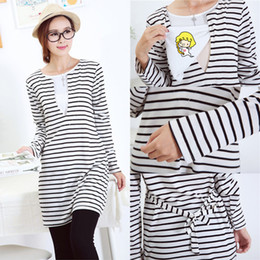 Discount maternity clothed 2427A# Striped Maternity Nursing Dress Cotton Clothes for Pregnant Women Long Sleeve Breast Feeding Clothing Pregnancy Spring