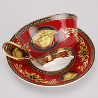 Wholesale Expresso Coffee Cups European Royal Bone China Mug Tea Cup Red Painting Coffee Cup And Saucer Gold Rim Latte Mug
