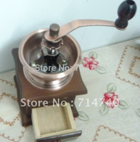 antique coffee grinder - Vintage Manual Hand Wooden Coffee Mill Grinder Antique Brass