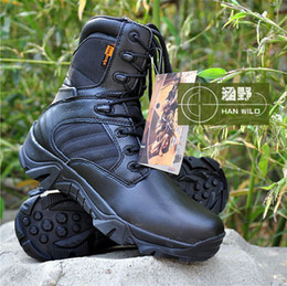 Wholesale-Delta Mens Tactical Police Military Army Boots With Zipper Men Boot Leather Desert Boots Outdoor Sport Shoes SAND AND BLACK