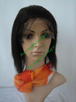 Wholesale 8 quot French Lace Real HUMAN HAIR FULL LACE Wigs B natural black Sliky straight