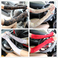 armed shows - Women s Elegant Lace Mittens Anti UV Sunscreen Long Thin Semi finger Gloves Electric Bicycle Car Driving Party Show Arm Sleeve
