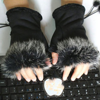 Wholesale TOP Fashion Womens Girl Faux Rabbit Fur Hand Warmer Winter Fingerless Gloves Mittens