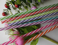 Wholesale Hot Sale Reusable Biodegradable Distored Color Beverage plastic Striped drinking Straws