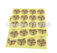 Wholesale Hybsk Thank You Round Kraft Paper Sticker Labels Packaging Seals Crafts Wedding Favor Tag Toppers set of