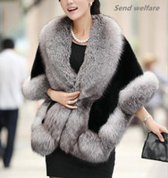 Wholesale Winter Leather grass fox fur mink rabbit fur poncho cape bridal wedding dress shawl cape women vest fur coat