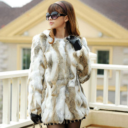 Wholesale-Free Shipping Genuine Rabbit Fur Coat long natural rabbit fur jacket Women Winter Rabbit Fur Waistcoat plus size F-630
