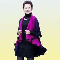cape coat plus size - New Winter Autumn Rabbit Fur Coat Women Cardigan Female Knitted Wool Poncho Lady Cape Overcoat Plus Size