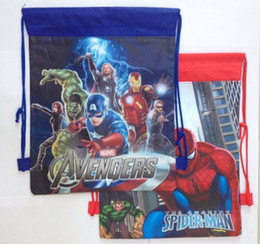 2017 enfants cordon sacs d'école Sacs à bandoulière de Cartoon Drawstring Cartoon-Spiderman Marvel Avengers Sacs d'école Enfants Mochila Infantil Violetta Girl For Gift enfants cordon sacs d'école autorisation