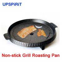 aluminum gas grills - High quality smokeless barbecue roasting panela aluminum alloy gas grill pan round black roasting bbq non stick frying pan