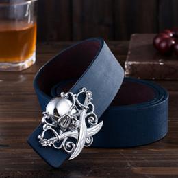 Wholesale-2015 Fashion Decorative Adult Belt Male Metal Buckle Belt Men Casual Pirate Skull Buckle Belt
