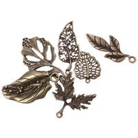 bronze charms - New Arrival Mixed Leaf Charms Antique Bronze Plated Alloy Pendant Jewelry Findings