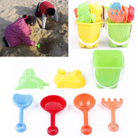 beach sand molds - Modern Design Winter Summer Seaside Beach Toy Spade Rake Bucket Kit Sand Snow Building Molds for kids Funny Gift