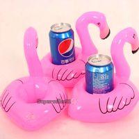 venda por atacado inflatable pool toys-Atacado-Mini brinquedos fanny bonito Red Flamingo Flutuar Bebida inflável pode Detentor Piscina Toy banho quente