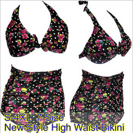 Wholesale new black floral halter swimsuit split large size waist pregnant lady bikini bathing sui