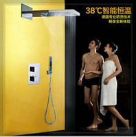 bathroom fauce - Luxury Solid Brass Concealed Bathroom Shower faucet ceiling thermostatic rectangle rainful shower set waterfall glass wall fauce