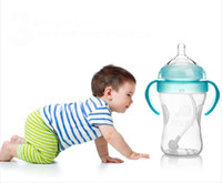 Wholesale ml ml size feeding bottle with handle silica gel baby nurcing bottle with nipple and straw