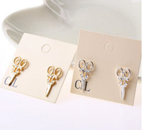 Wholesale LZ Jewelry Hut E292 E293 The Fashion Gold And Silver Scissors Earrings For Women