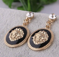 Wholesale New HOT New Fashion Designer Brand Black Enamel Exaggerated Rhinestone Lion Head Earrings For Women Brincos XY E170