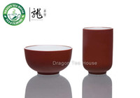 aroma tea cup - Chinese Zisha Clay Glazed Red Aroma Tea Cup Set