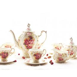 Wholesale ceramic rose teaset best choice for afternoon tea pc teapot pc sugar pot pc milk pot cups saucers