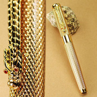 Cheap Wholesale-Golden Checked China DRAGON 18KGP Nib Fountain Pen JINHAO Agent