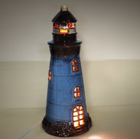 Wholesale 032975Table lamp Beautiful Mediterranean Lighthouse Decoration ceramic Creative Bedroom Bedside Cute
