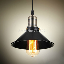 Vintage American country style small black iron pendant lights industrial lighting with plating bobeche