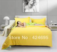 Wholesale Home textiles Yellow Green bedding sets include comforter cover bed sheet pillowcase linen bedclothes