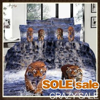 Wholesale 100 Cotton D Bedding Sets Queen King Comforter Quilt Duvet Cover Set Rose Tigers Horses Swan D Bedding OVER Patterns