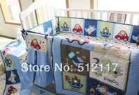 baby comforter selling - hot sell New Blue Cars Airplan Boy Baby Crib Cot Bedding Set items Including Comforter Bumper Fitted Sheet