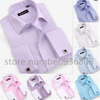 big collar shirts for men - men s shirt new men s long sleeve casual shirts slim fit French cufflink dress shirts for men big size XXXXL