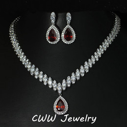 Wholesale-2015 Nigerian Design Big Water Drop CZ Diamond Red Ruby Crystal Wedding Bridal Jewelry Sets Gifts For Bridesmaids (T110)