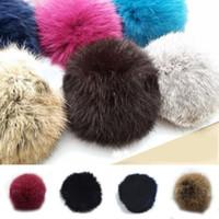 ball chain shop - Lovely Women Rabbit Fur Ball DIY Key Chain Headwear Cellphone Keyrings Pendant free shopping A