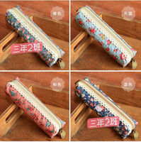 Cheap Wholesale-Hot sale New Arrival fashion Cute Polka Dot Floral student pencil bag storage bag stationery cases drop shipping HG279