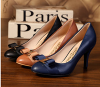 Red heels - Women Shoes High Heel Genuine Leather Wedding Shoes Woman Brand Leather Heels Women Pumps Bow Heels Zapatos Mujer DA007