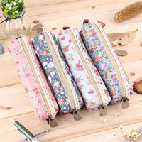 Wholesale Girls Polka Dot Flower Lace Floral Pencil Case Pen Bag Purse Cosmetic Makeup Pouch Bag