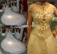 latest bridal wedding gowns - Luxury Ball Bridal Gown Princess High Neck Cap sleeve Heavy Crystal Wedding Gown Latest Fashion Design